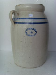 Antique Stoneware Blue Decorated 4 Gallon Butter Churn Smithville