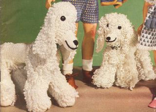 Vintage Baby Toy Dog Puppy Poodle Crochet Pattern 2 Szs