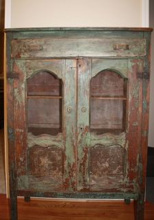 Antique Southern Pie Safe 1800s Orig Blue Green Paint
