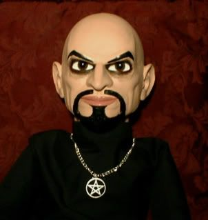Ventriloquist doll EYES FOLLOW YOU! Anton LaVey dummy puppet prop OOAK