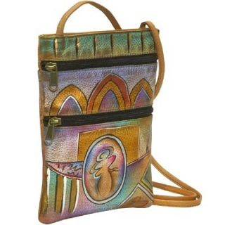 Anuschka Leather Small Travel Companion Bag Handpaint Abstruct