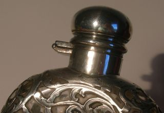 Solid Sterling Silver Glass Flask Antique Silver Overlay Bottle