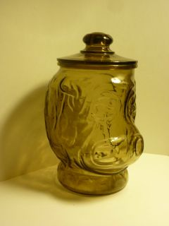 Vintage 1970s Libbey Glass of Ohio Amber Colored Big Hippo Cookie Jar
