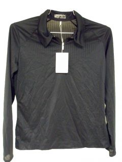 Long Sleeve Body Mapping Golf Shirt Black Ladies Med 256831 New
