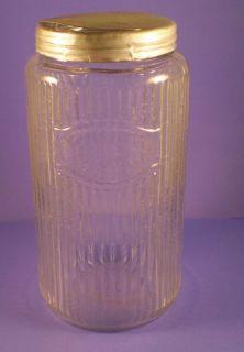 Antique Hoosier Cabinet Coffee Jar Storage Tin Lid