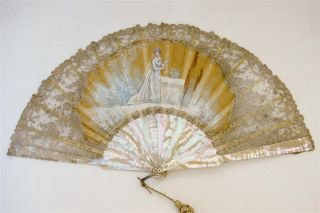 Antique Mother of Pearl and Lace Hand Painted FAn Wedding Bridal