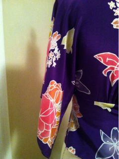 anna sui purple floral kimono blouse size 0 purple floral top with