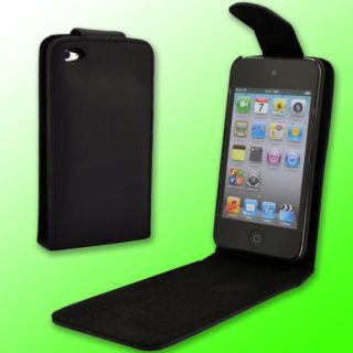 Leather Hard Flip Case Cover Black for Apple iPod Touch 4th Gen 4G