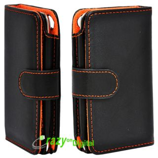 black leather flip case for apple ipod touch 4th generation