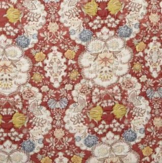 Pottery Barn Anna Maria Floral Quilt Full Queen Red Cotton Flower New