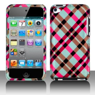 Apple iPod Touch 4G 4th Gen Pink Plaid Hard Case Cover