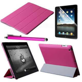 Pink Magnetic Smart Cover Stand Case For Apple iPad 3rd 2 + Protector
