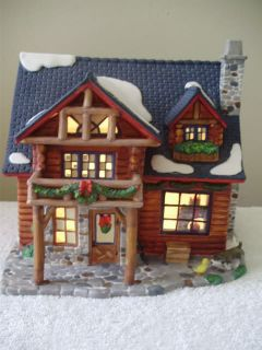 Village Christmas Village Log Cabin Boxed Light Included Unique