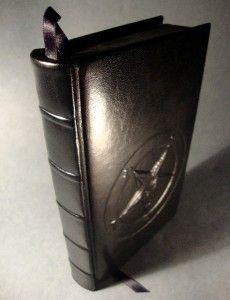 leather bound the satanic bible anton lavey baphomet