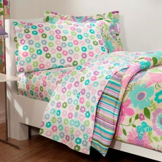 Daisy Flower Butterfly Pink Aqua Bedding Comforter Sheet Set   Twin