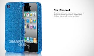 iPhone 4G Fly Aqua Blue Sparkling Glitter Bling Protective Case Cover