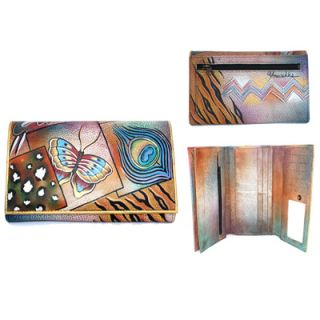 Anuschka Large Handpainted Leather Wallet Clutch Butterfly Feather
