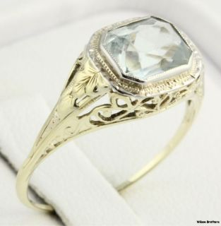 40ctw Aquamarine Solitaire Ring C 1920s 30s 14k Yellow Gold Filigree