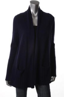 Aqua Purple Cashmere Ribbed Trim Long Sleeve Open Front Cardigan