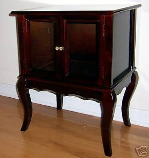 Cherry Wood Queen Anne Cabinet Table w Glass Door New