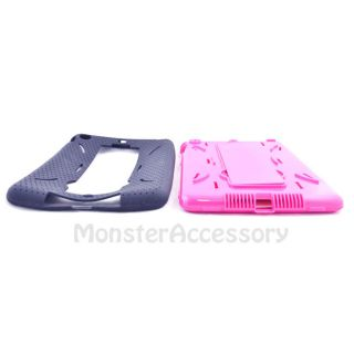 Black Pink Kickstand Double Layer Hybrid Gel Case Cover for iPad Mini