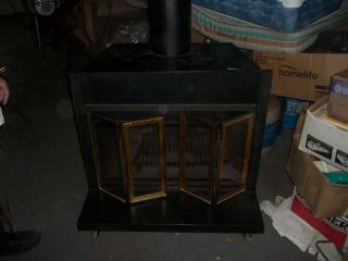 Original Montgomery Ward Heater Wood Stove Fireplace Heavy Iron Glass