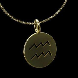 Aquarius Zodiac Sign 14k Yellow Gold Pendant Necklace