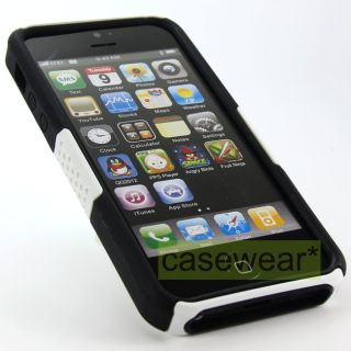 White Black Apex Perforated Hard Case Cover for Apple iPhone 5