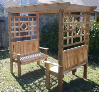 NEW ALL CEDAR WOOD DOUBLE GARDEN ARBOR BENCH ARCH 2 BENCHES NEARLY 8 ...