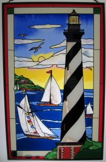 Lighthouse Sail Boat Sailing 10x16 Stained Glass Panel