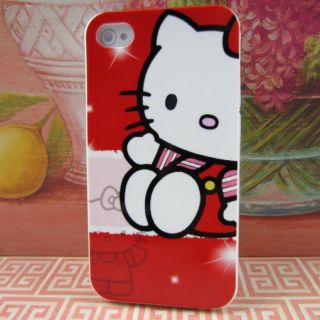 Apple iPhone 4 4S 4G Hello Kitty #Red Rubber Silicone Skin Case Phone
