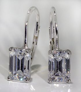 Drop Earrings 14k White Gold 4 ctw Emerald Cut CZs Lever Back