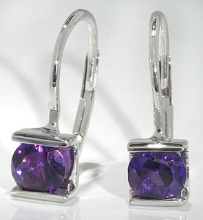 14k White Gold Earrings Channel Set 5mm Round Amethyst