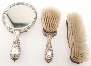 3pc Sterling Silver Brush Mirror Vanity Set Buttercup Gorham