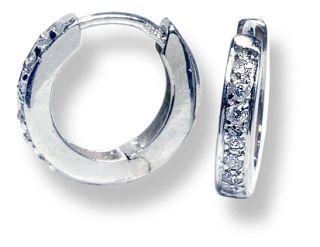 Baby Huggie Earrings 14k White Gold 12 CTW Diamonds Hinged Hoops