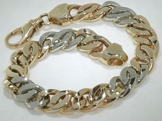 Mans 10K Yellow White Gold Massive Bracelet 44 6 Grams