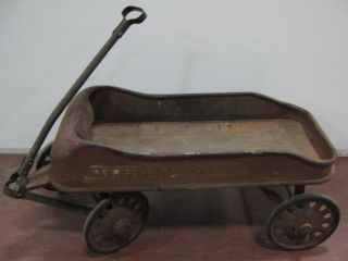 Vtg Antique Streak O Lite Childrens Toy Metal Wagon C 1930s Radio