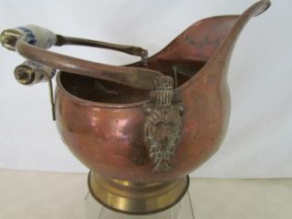 Antique Ash Bucket Copper Brass w Blue Porcelain Delft Style Handles