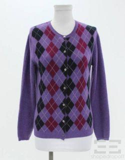 Burberry Purple & Black Wool Argyle Cardigan Sweater Size Small