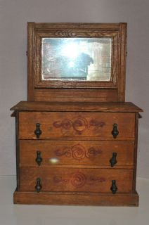 Antique Oak Doll Dresser with Mirror and Painted Design Teardrop Pulls