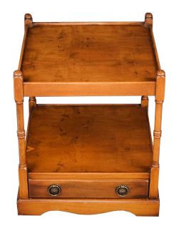 English Antique Style Yew End Table w Drawer