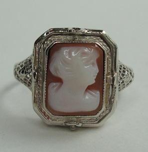 Unique Antique White Gold Filigree Cameo & Onyx w/ Diamond Flip Ring