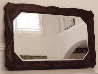 Antique Carved Jacobean Oak Wood Frame Beveled Mirror