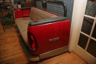 Custom Ford F 150 Truck Tailgate Couch Red tail lights work casters