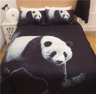 PANDA BEAR Black White Microfibre~Queen Size Quilt Doona Cover Set