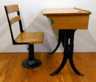 ... Antique School Desk And Chair Adjustable Metal Legs Wood Top Kenney ...