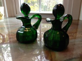 Vintage Oil and Vinegar Cruet Set Green Depression Glass