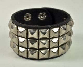 Silver Pyramid Stud Leather Wristband Black Death Metal Heavy Dark