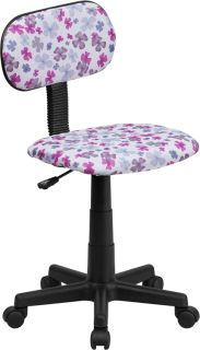 COLORED FLOWER PATTERN PINK PURPLE HOME OFFICE ARMLESS DESK CHAIRS