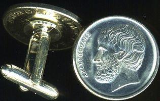 VINTAGE GREEK PHILOSOPHER ARISTOTLE GREECE UNIQUE COIN CUFFLINKS + BOX